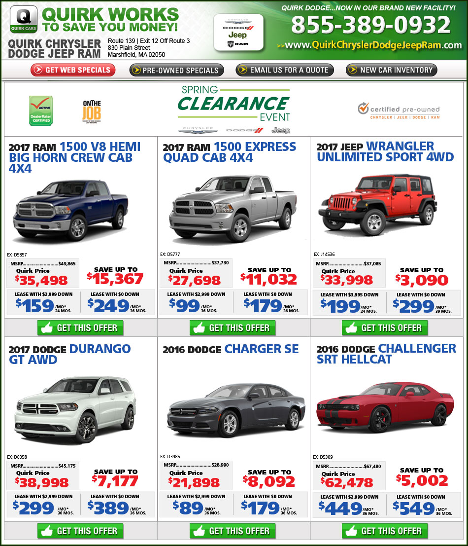 Quirk Dodge New Car Specials Online at Boston.com - Buy or Lease