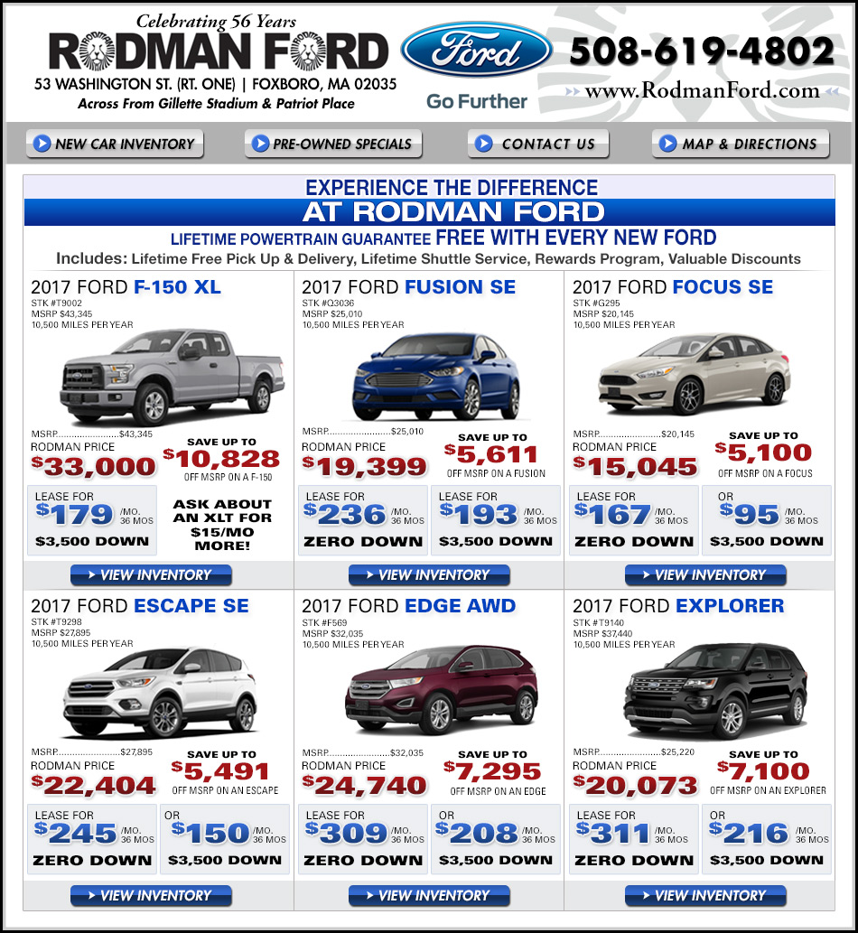 New and used car ads near Boston MA | Rodman Ford