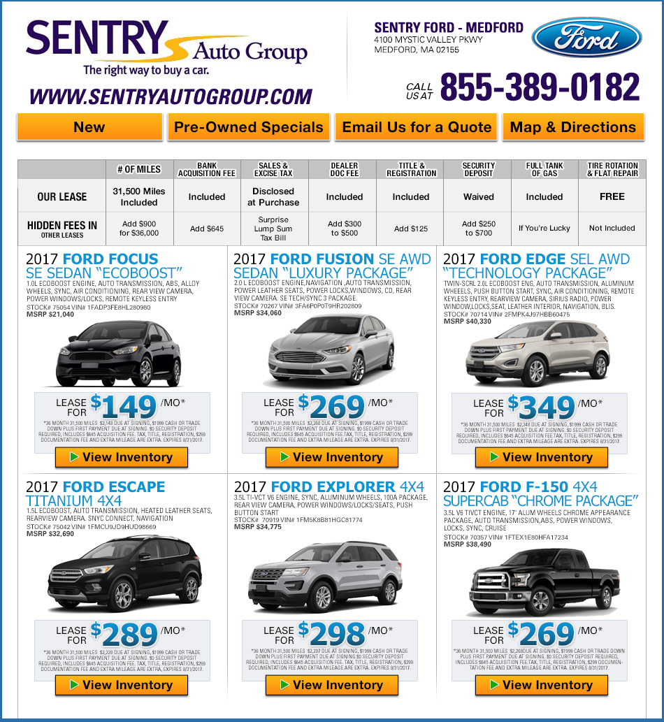 Ford Leasing: Sentry Ford In Medford
