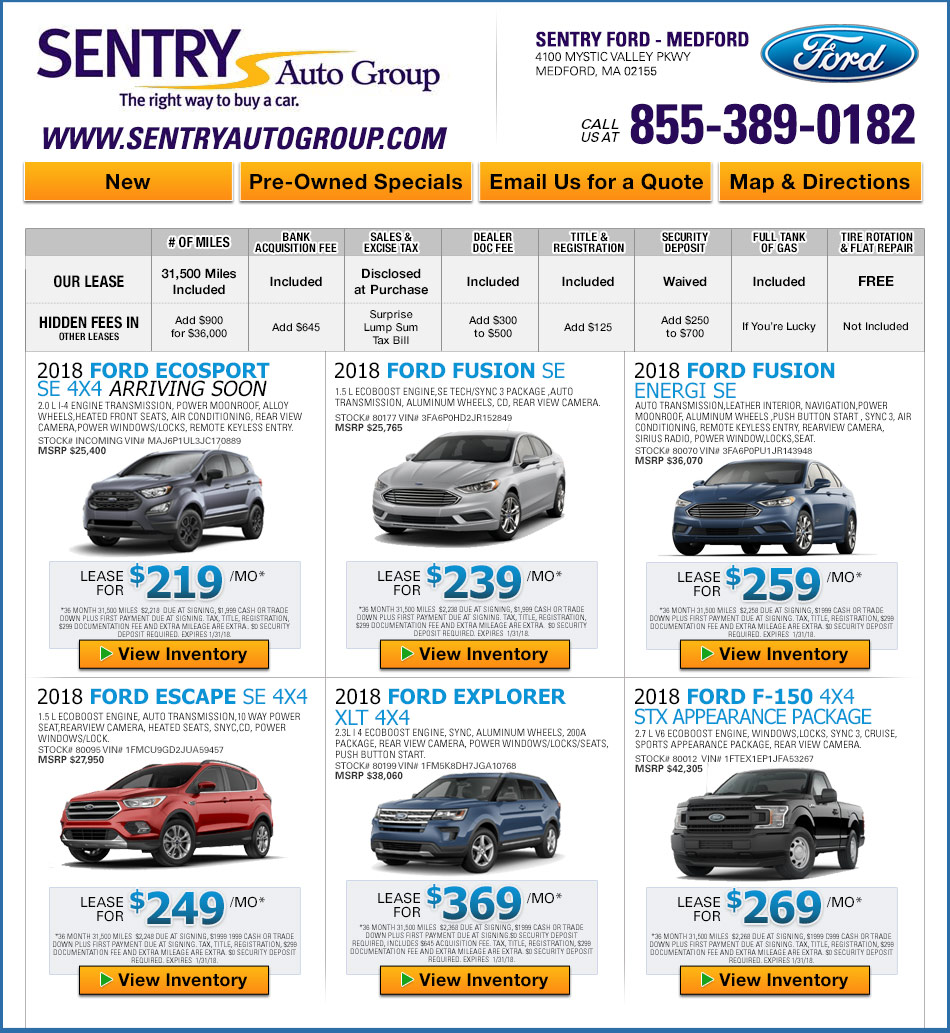 Sentry Ford Lincoln Inc New Ford Dealership In Medford MA - Ford dealership medford oregon