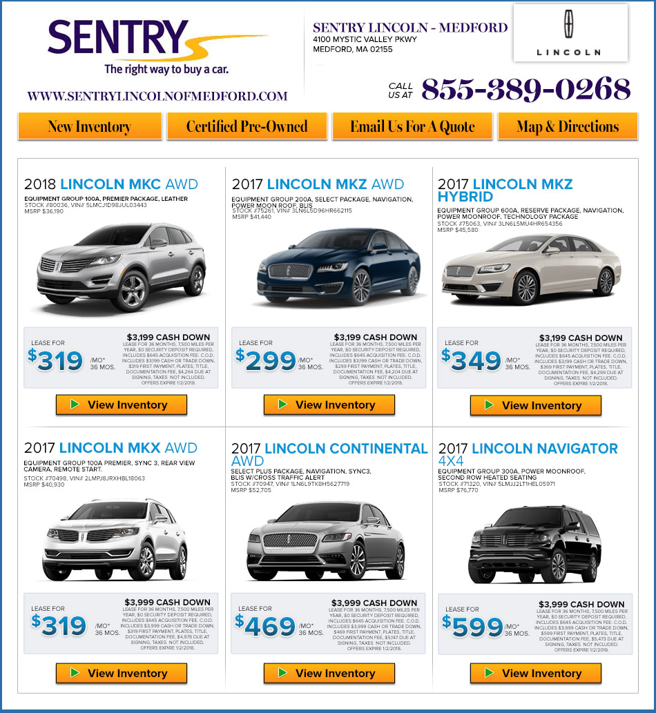 Lincoln Lease Offers: Sentry Lincoln In Medford