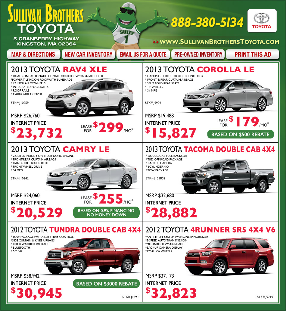 Sullivan Brothers Toyota Dealers Kingston Ma