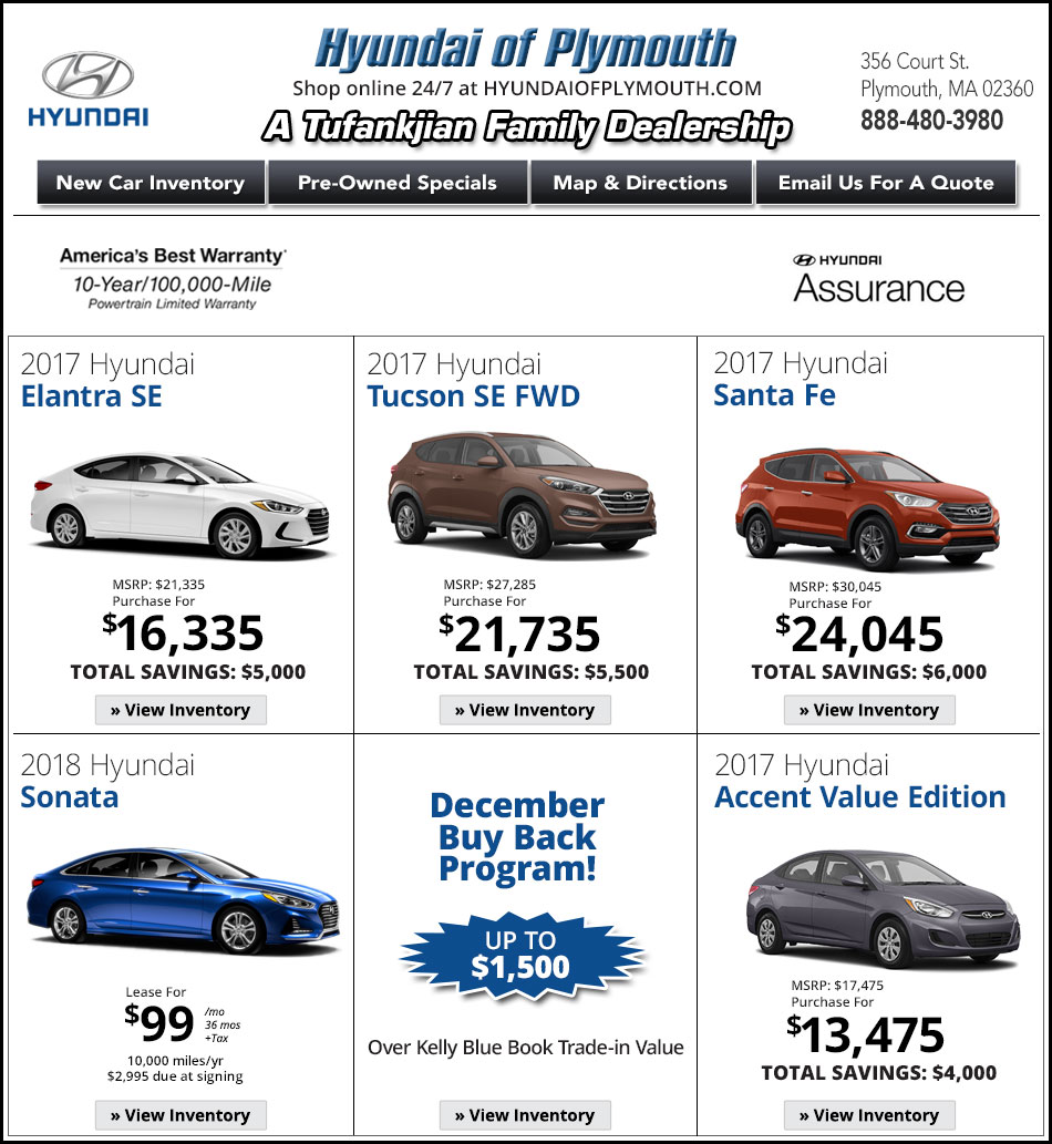 Ma Hyundai Deals Hyundai Of Plymouth New Car Specials