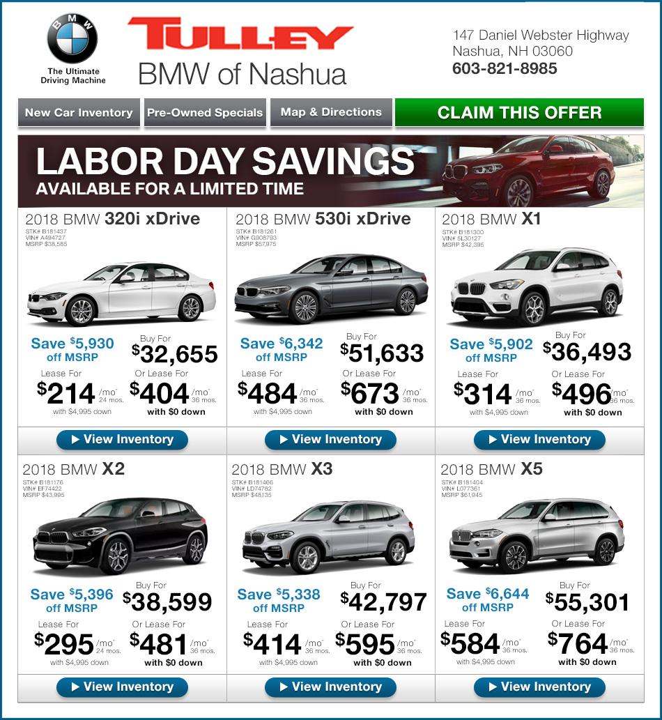 Tulley BMW Of Nashua New Car Specials