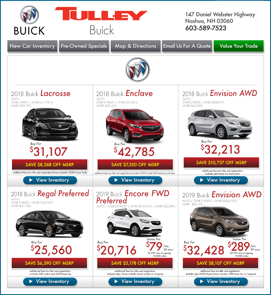 New Buick Specials in Nashua at Tulley Buick GMC