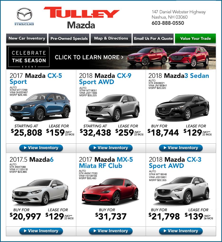 Mazda Dealers Maryland: Tulley Mazda New Hampshire New Car Specials