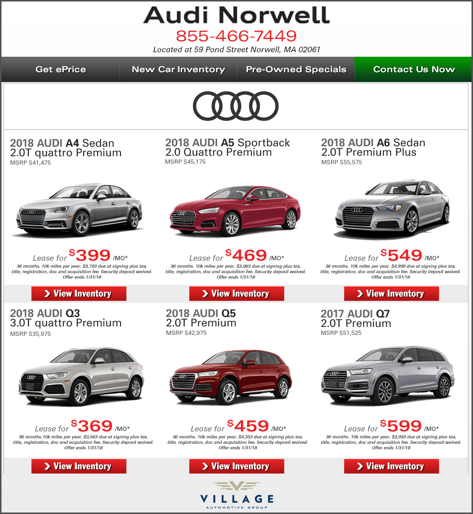 Greater Boston New Car Deals At Audi Norwell Lease Or Buy A New Audi - Audi leases