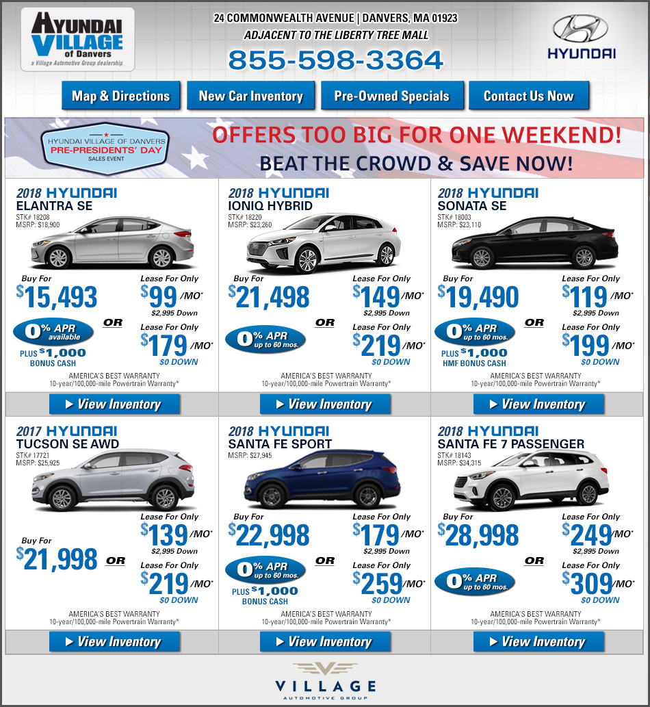 Ma Sales Tax On Cars >> Hyundai Village On Boston Com Shop Dealer Specials Online Now