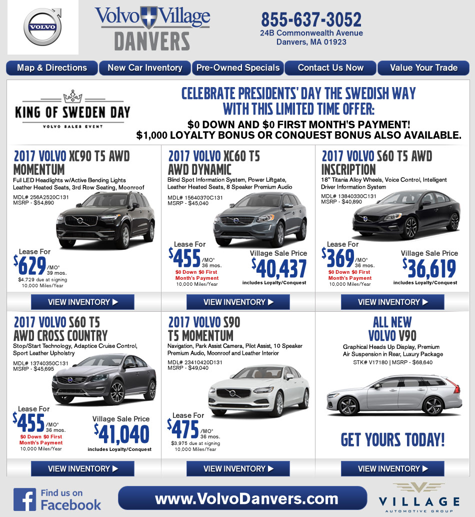 Danvers, MA Volvo Dealership : Volvo Village MA New Car Deals