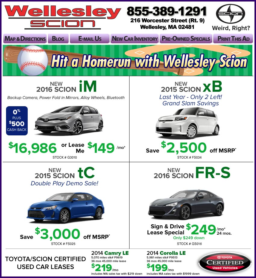 Ma Sales Tax On Cars >> Boston Scion Dealer View Wellesley Scion New Car Deals