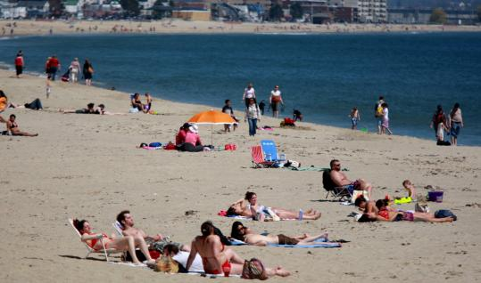 A Smattering Of Beachgoers Enjoyed Revere Beach April 25 Three Days Later Throngs