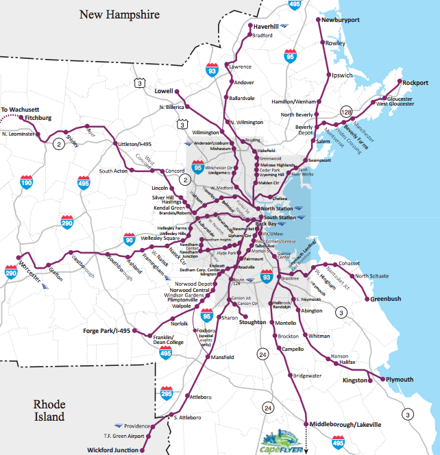 Mbta Commuter Rail Map This geographically accurate MBTA map shows its many twists and  Mbta Commuter Rail Map